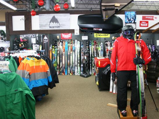 A wide selection of skis, snowboards + snowshoes is available.