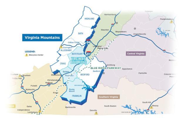 Virginia Mountains - Virginia's Blue Ridge Map