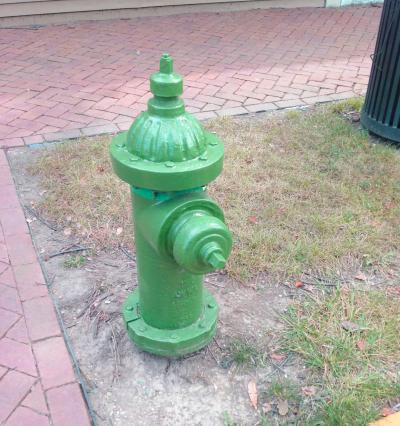 Green fire hydrant in Dublin, Ohio