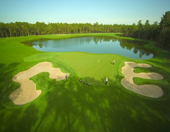 Water features and fairway at the Redstone Golf Club