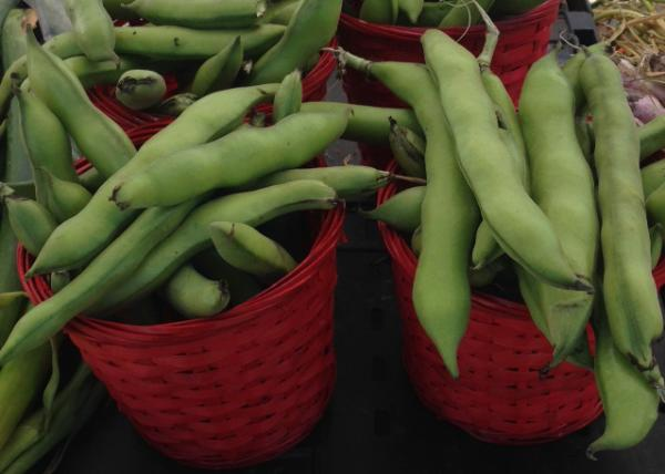 Farmer's Market giant pea pods in red baskets