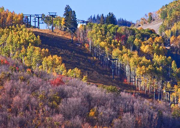 Fall hike and bike trails near chair lifts in Park City
