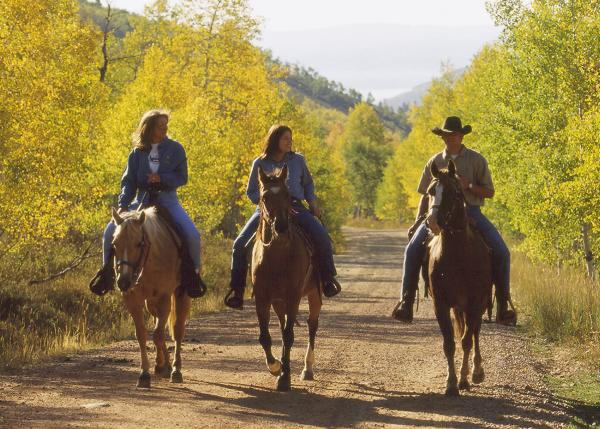 Three Horseback Riders among beautiful fall scenery in Park City, UT