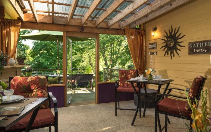 Enjoy a gourmet breakfast on one of three back decks