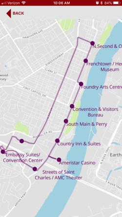 Ride Saint Charles Trolley Tracker App Open
