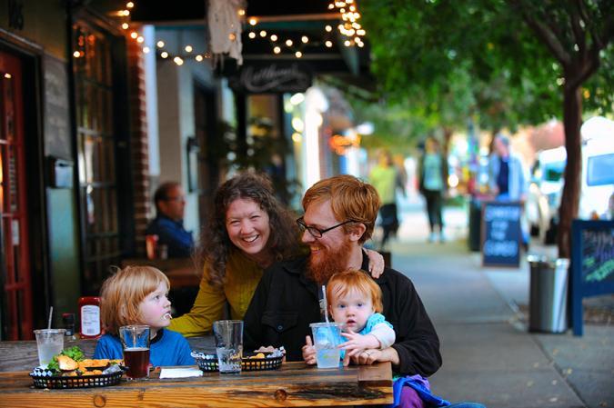 Family dining on Churton Street