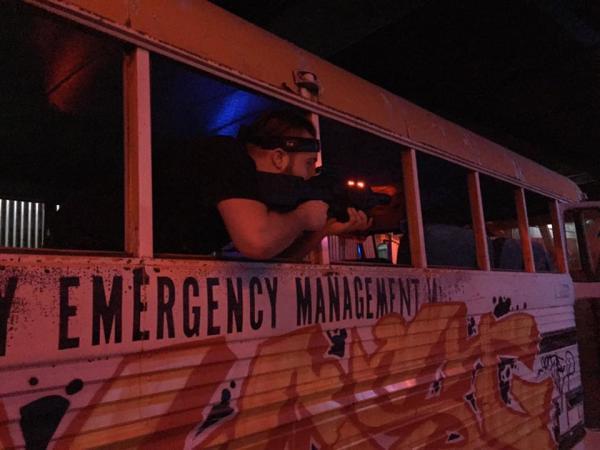 Bus inside arena