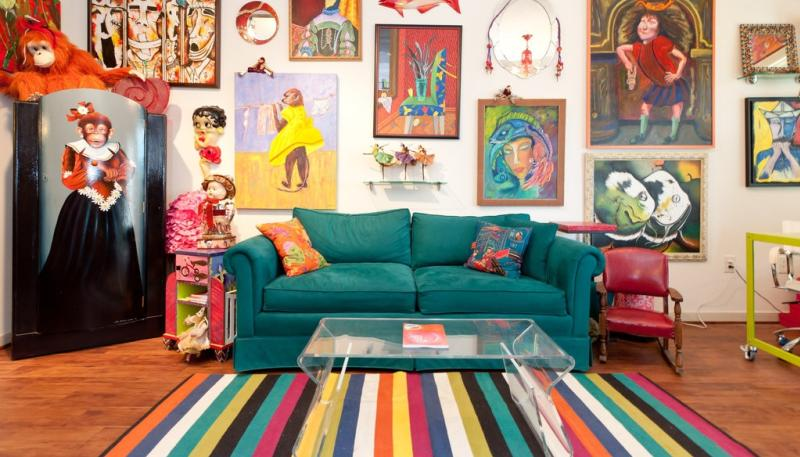 Colorful living room in home featured in Austin Weird Homes Tour