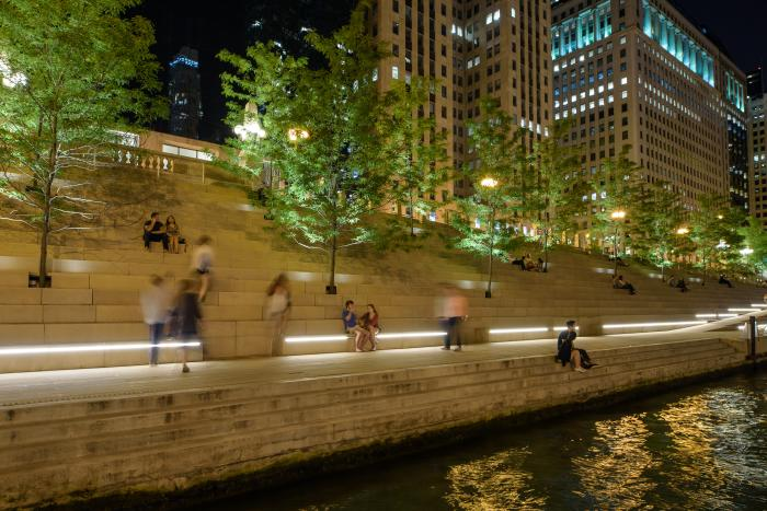 River Theatre ramps at night