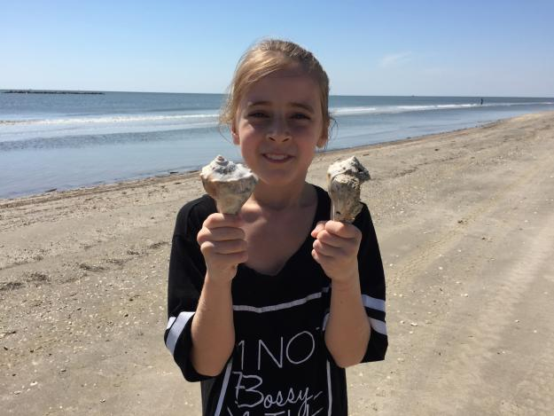 Girl shelling on Gulf beach | Creole Nature Trail