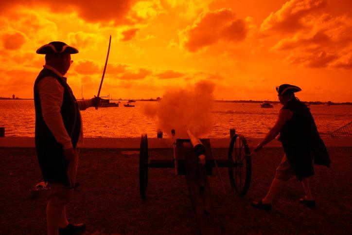 Pirates Shooting Cannon at Sundown