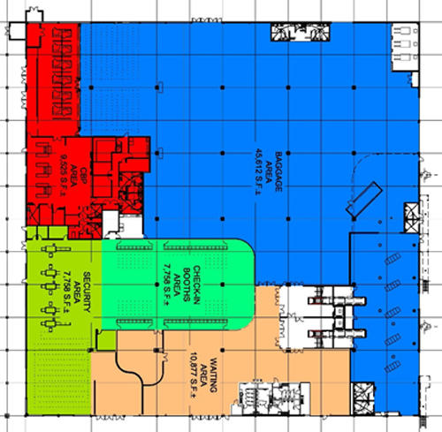 Map of Cruise Terminal 19 first floor layout