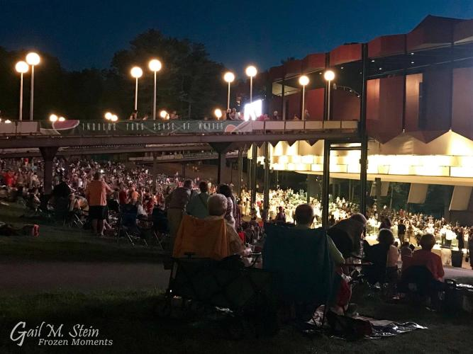 Crowded lawn at SPAC during a concert