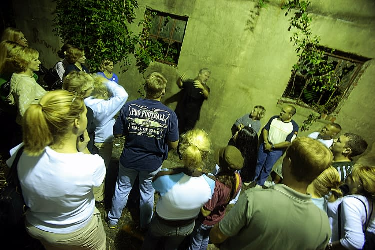 Visitors on Ghost Walk tour