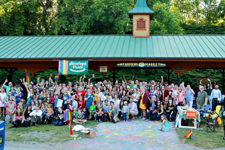 Group shot of Saratoga Pride 2018 attendees at High Rock Pavilion
