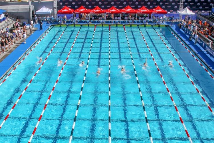 Swimmers at William Woollette Aquatic Center in Irvine