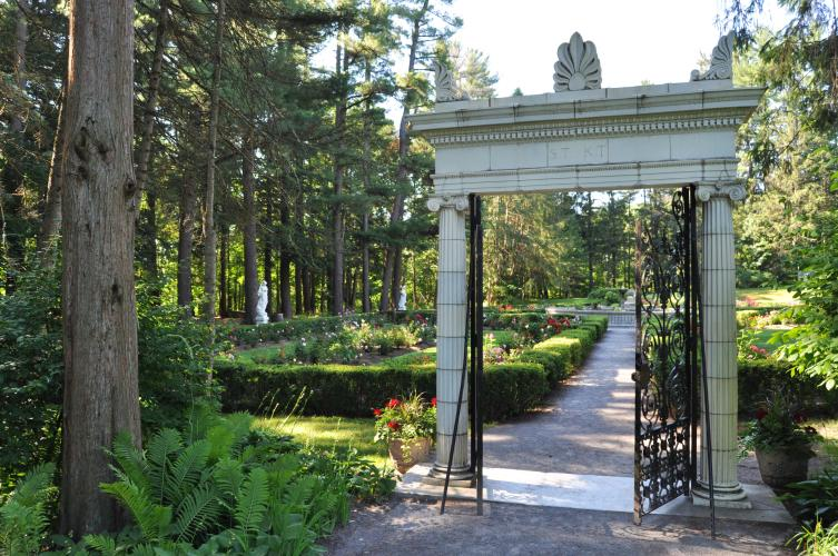 Entrance to the Yaddo gardens with views through the gate.