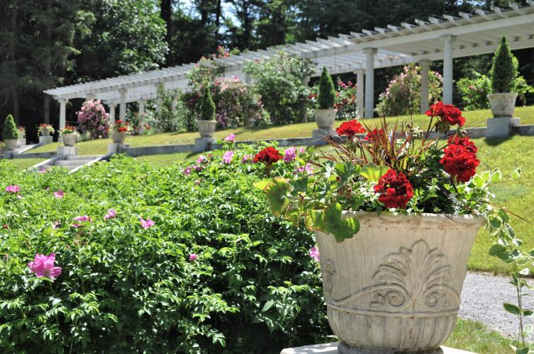 Looking up the hill toward the pergola at the Yaddo Gardens