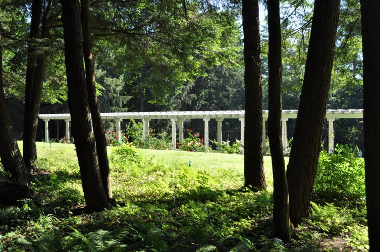 View of the pergola from the back gardens at Yaddo Gardens