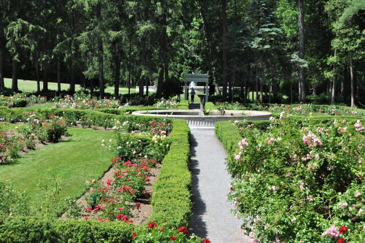 Garden view looking toward the exit archway, at Yaddo Gardens