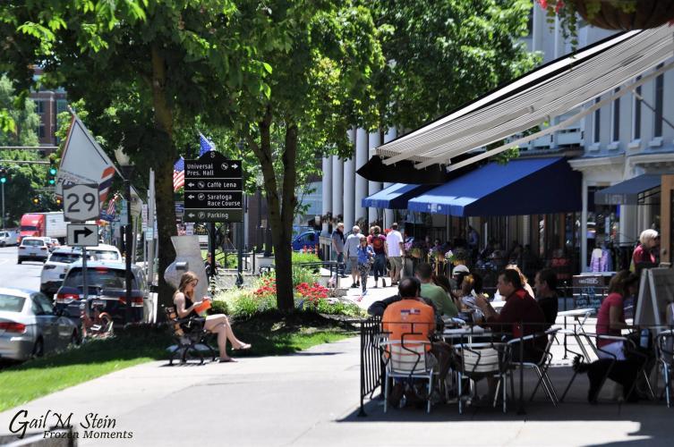 Sidewalk dining outside the Blue Hen along Broadway