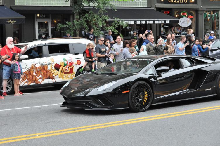 Darryl in Lamborghini at start of parade