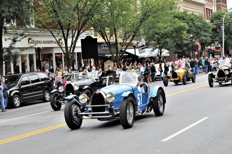 Blue convertible Bugatti car 4 parade