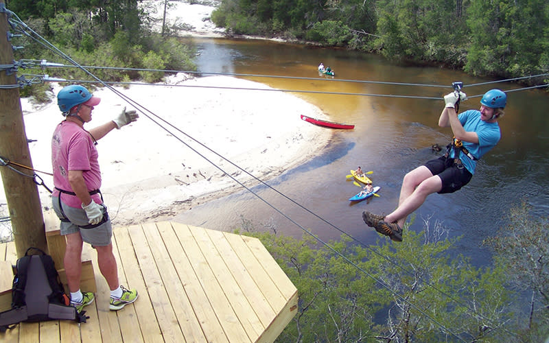 Zip line at Adventures Unlimited