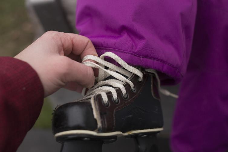 Stuart Park Ice Skating Lacing Up