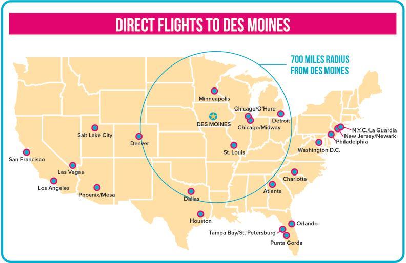 CDM Direct Flights to dsm_Map