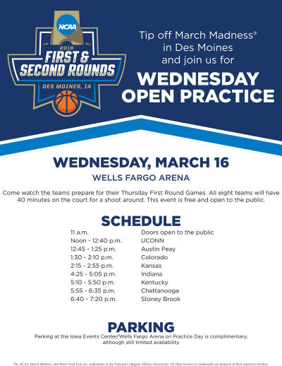 NCAA March Madness Wednesday Open Practice Flyer