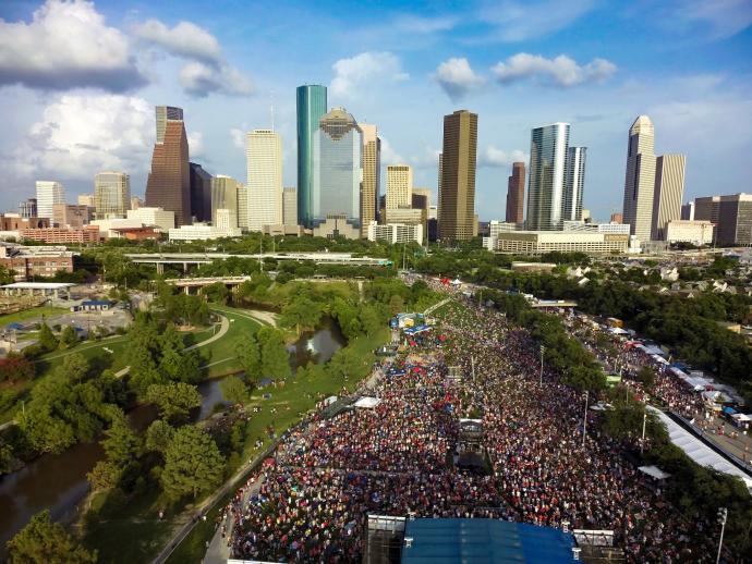 Freedom Over Texas event and Houston Skyline