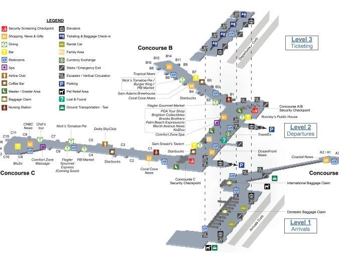 PBI Airport Terminal Map