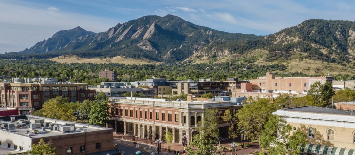 Copy of Downtown Boulder with Flatirons - from courthouse