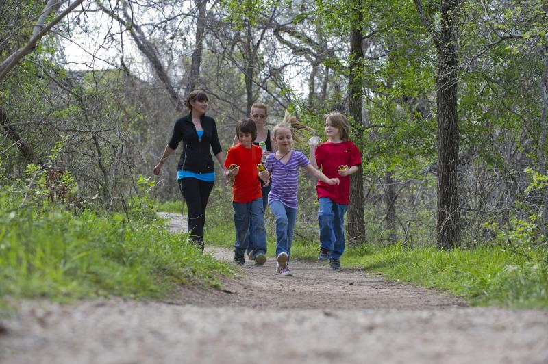 Family geocaching at McKinney Falls State Park in Austin texas