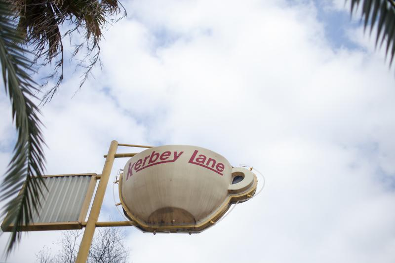 exterior sign at kerbey lane cafes central location in austin texas
