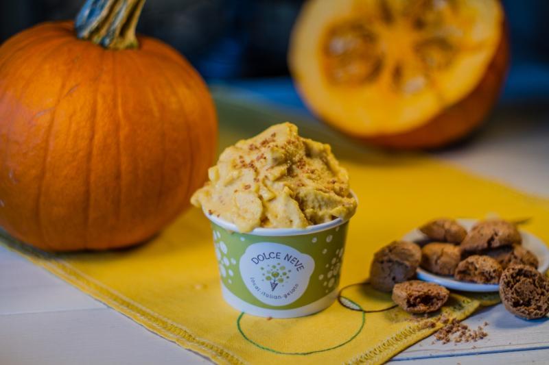 Pumpkin and Amaretti gelato from Dolce Neve.