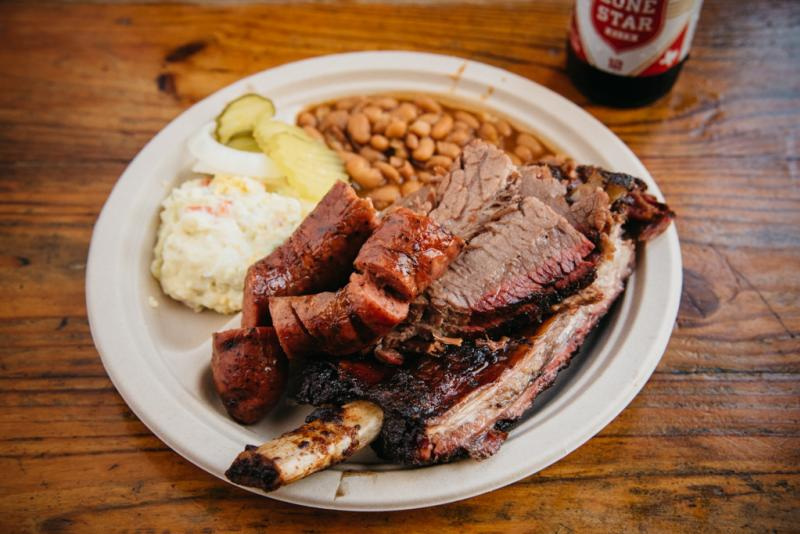 Iron Works Barbecue platter with Lone Star Beer