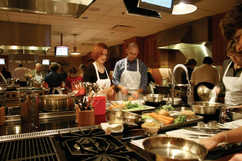 Learning to cook in the hands-on kitchen at the New York Wine and Culinary Center