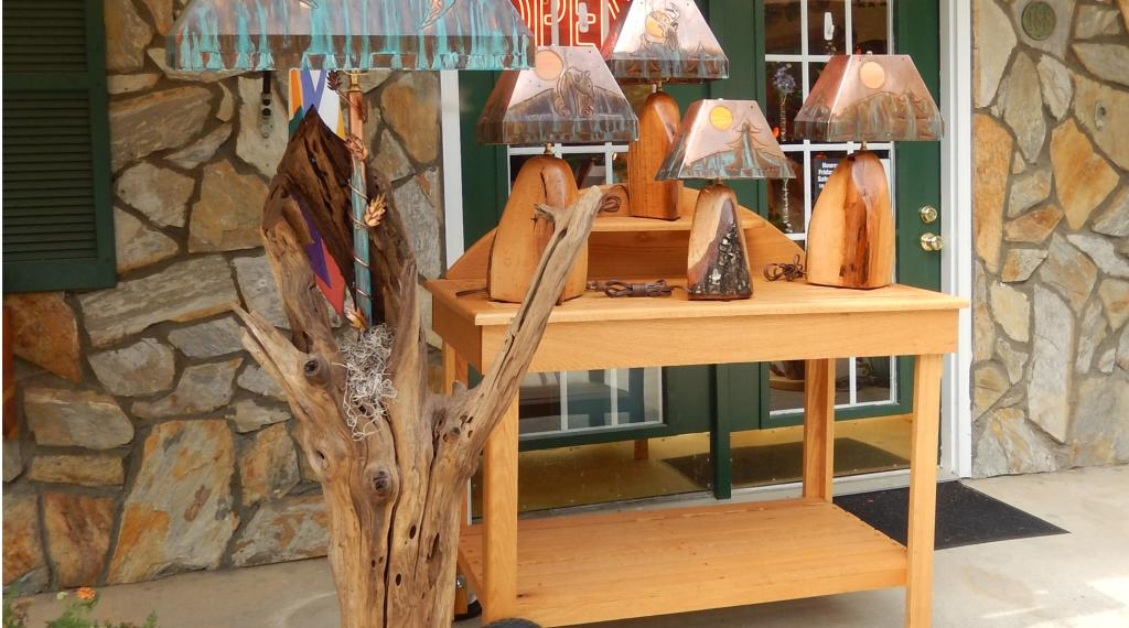 Driftwood Lamps on Display