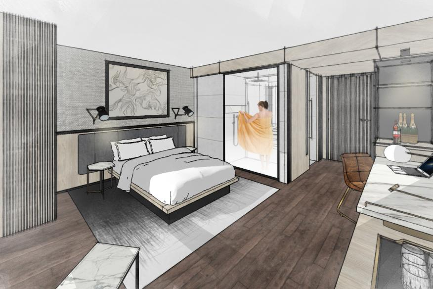 The Dalmar Standard Guest Room Rendering