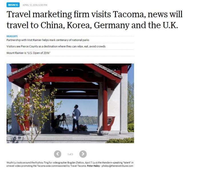 Tacoma News Tribune article about international marketing videos