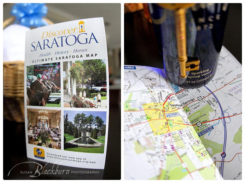 Discover Saratoga Ultimate Map with Saratoga Water bottle and gold key chain