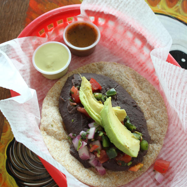 Freakin Vegan Wheat Taco with avocado and black beans