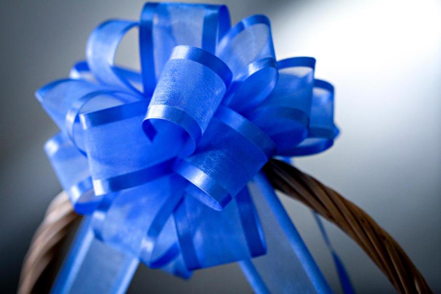 Blue bow on gift basket