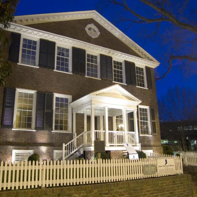 John Marshall House at night