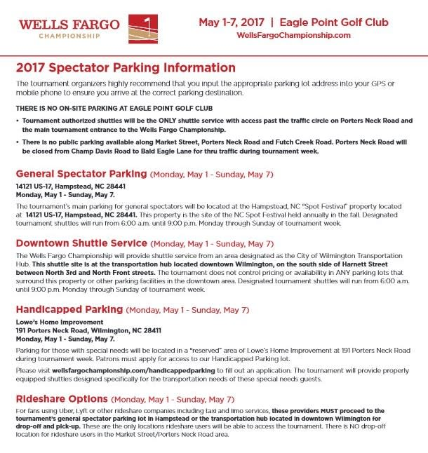 Wells Fargo Parking Information Sheet
