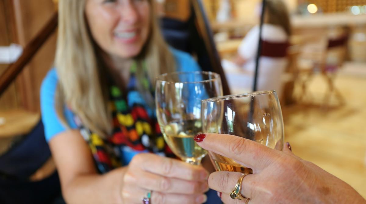 Two women enjoy a cheers with glasses of wine