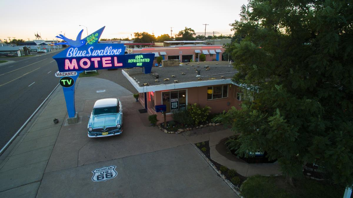 Route 66 Tucumcari Blue Swallow