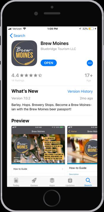 Brew Moines App Store download screen